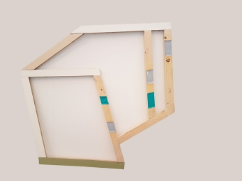 Objekt II_017, wood, acrylic paint, 110 x 130 cm